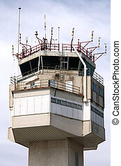 Air traffic control - Airport control tower in Girona,...