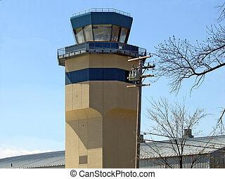 Air Traffic Control Tower - Air traffic control tower rises...