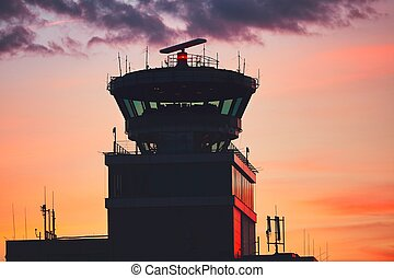Air Traffic Control Tower at the airport during amazing...