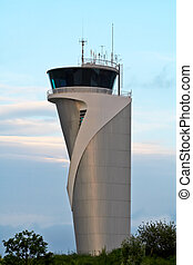 Air Traffic Control Tower on blue sky