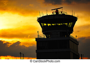Air traffic control tower - Storm cloud above Prague...