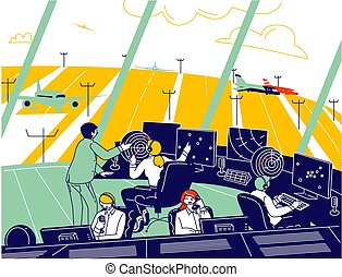 Air Traffic Controller Team Working with Plane on Runway. Male and Female Characters Wearing Headset Control Airplanes