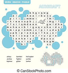 Air transport crossword game. Search words game with answer for children