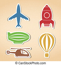 Air Transport Icons - Colored air transport icons set, ...