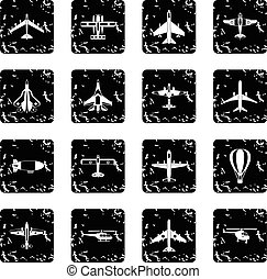 Air transport icons set, grunge style