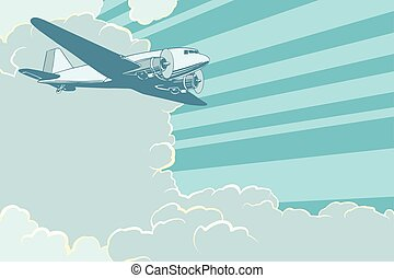 Air transport in the sky, retro style