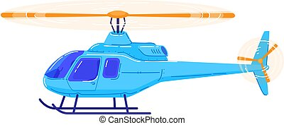 Air transport, modern helicopter, fast vehicle for air travel, design cartoon style vector illustration, isolated on white.
