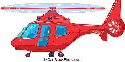 Air transport, modern red helicopter, fast vehicle for air travel, design cartoon style vector illustration, isolated on white.