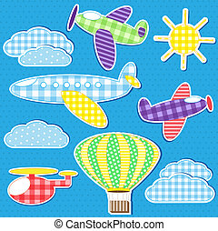 Air transport. Vector set of textile stickers