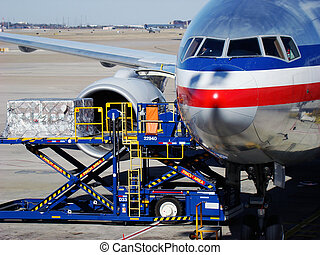 Aircraft loading cargo at Dallas Forth Worth International airport.
