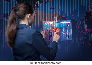 Air transportation concept with businesswoman