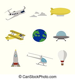 Air transportation flat icons set for web or app using
