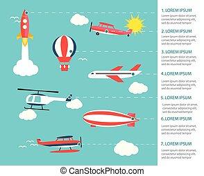 Air transportation infographics, vector illustration