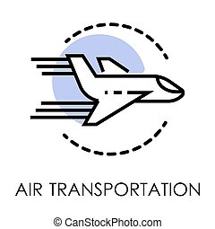 Air transportation isolated icon, airport and cargo shipping