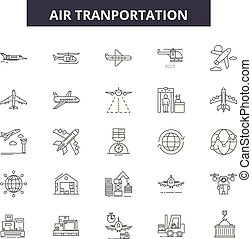 Air transportation line icons, signs set, vector. Air transportation outline concept, illustration: transport,plane,vehicle,transportation,train,car,airplane,truck