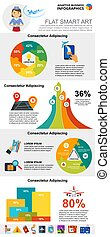Air transportation or analysis concept infographic charts set