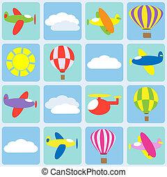Air transportation. Seamless vector pattern