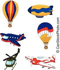 air transportation set cartoon