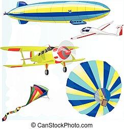 air transportation vector set