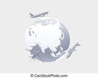 Air travel - Aircraft above earth