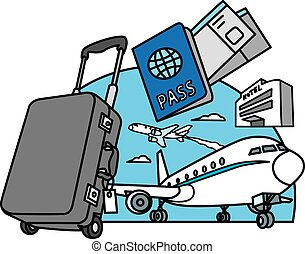 air travel and journey - concept illustration of air travel...
