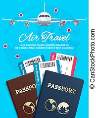 Air travel banner with earth plane passport and tickets