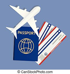 Air travel banner with passport - vacation concept design. Banner with airplane and vacation tickets. Vector illustration. Banner with two boarding pass tickets and aircraft. Icon