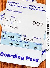 Air travel boarding pass