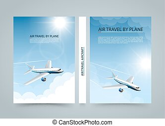 Air travel by plane, Modern airplane banners, Cover A4 size