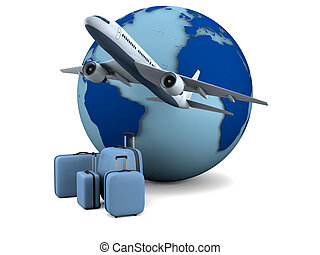 Air travel - Concept of flying passenger aircraft with model...
