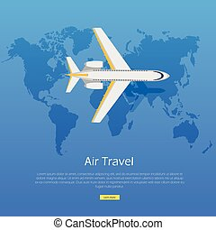 Air Travel Concept. Plane on World Map Web Banner.