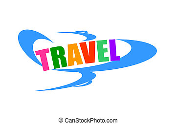 Air travel concept with airplane and colorful travel word