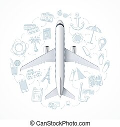Air travel concept with an airplane and a set of tourism, vacation, journey, travel icons. Vector illustration