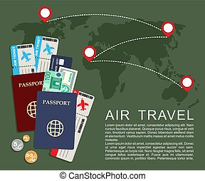 Air travel concept . World map, airline tickets and passports