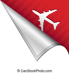 Air travel corner tab - Airport or airplane icon on vector...