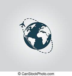 Air travel destination icon - Air travel destination. Flat...