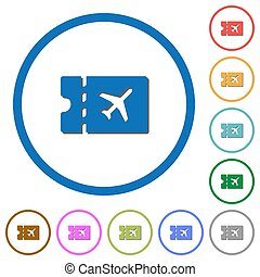 Air travel discount coupon icons with shadows and outlines -...
