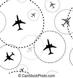 Air travel. Dotted lines are flight paths of commercial airline passenger jet airplanes. Abstract Illustration