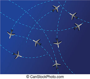 Air travel. fight paths - Air travel. Dotted lines are ...