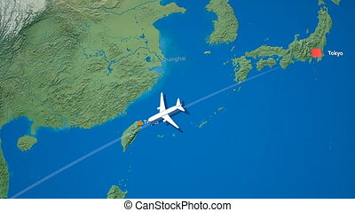 """""""Air travel flying route destination, Japan Malaysia."""""""