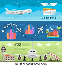 Air Travel Horizontal Banners Set