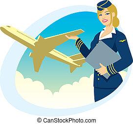 Air Travel - Air hostess presenting her company%u2019s...
