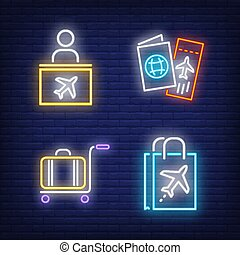 Air travel neon sign set. Check-in counter