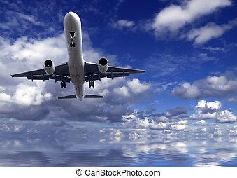 Air Travel - Series of images depicting various civil...
