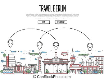 Air travel to Berlin poster in linear style - Air travel to...