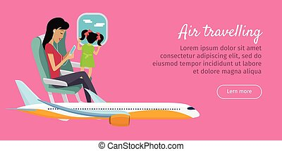 Air Travelling Conceptual Banner. Vector design