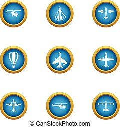 Air trip icons set, flat style