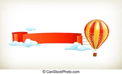 air, vecteur, bannière, balloon