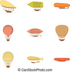 Air vehicle icons set, cartoon style