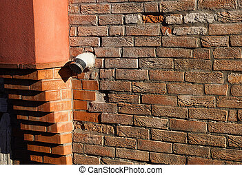 Vent on Old Brown Brick Wall